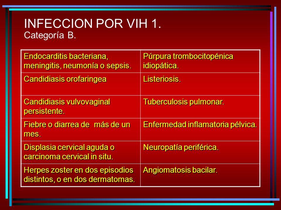 INFECCION POR VIH 1. Categoría B.