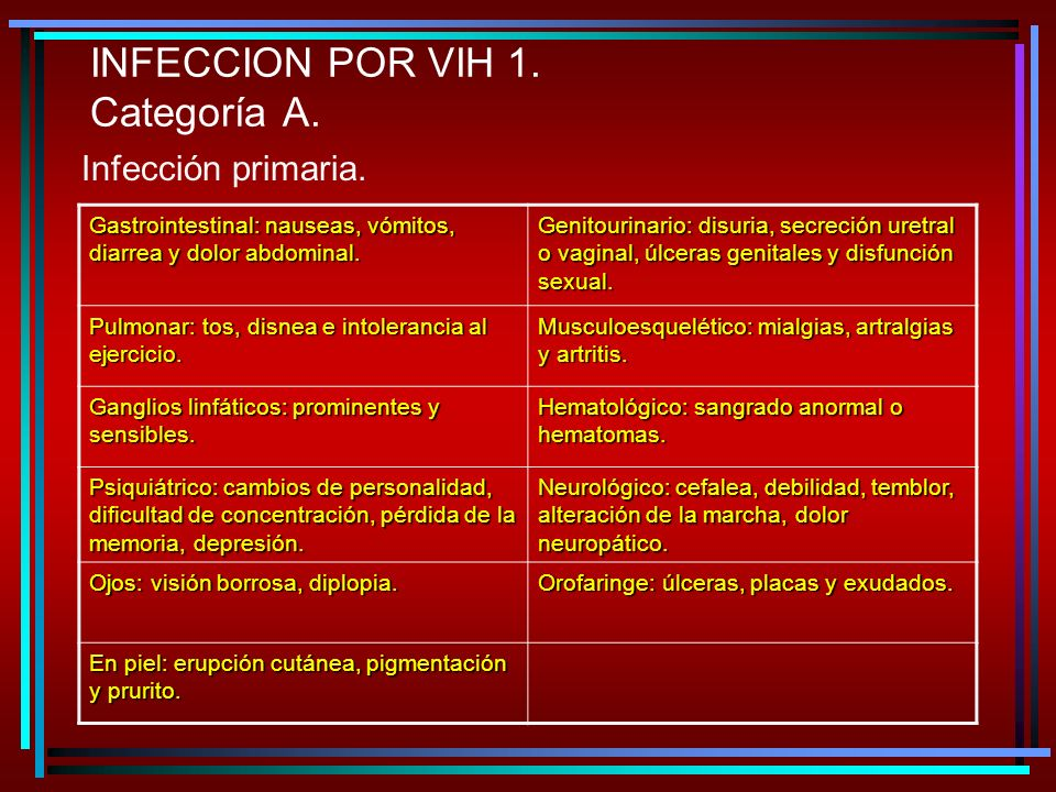 INFECCION POR VIH 1. Categoría A.