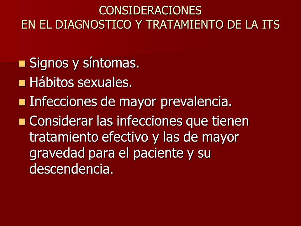 CONSIDERACIONES EN EL DIAGNOSTICO Y TRATAMIENTO DE LA ITS
