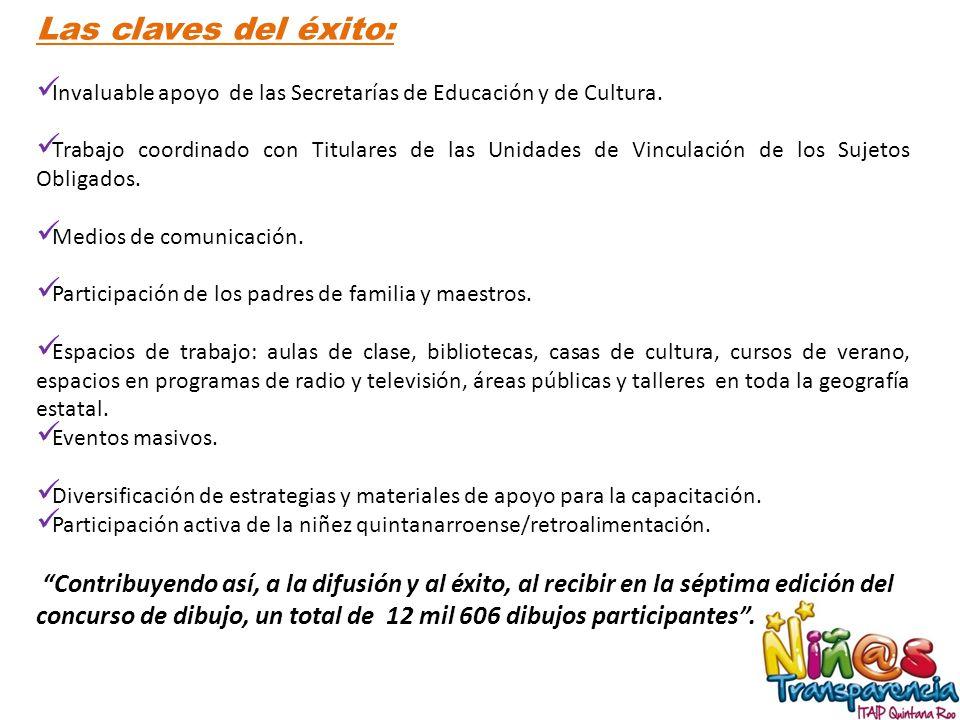Las claves del éxito: Invaluable apoyo de las Secretarías de Educación y de Cultura.
