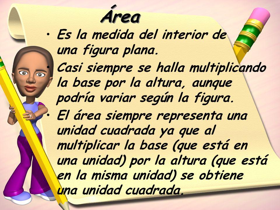 Área Es la medida del interior de una figura plana.