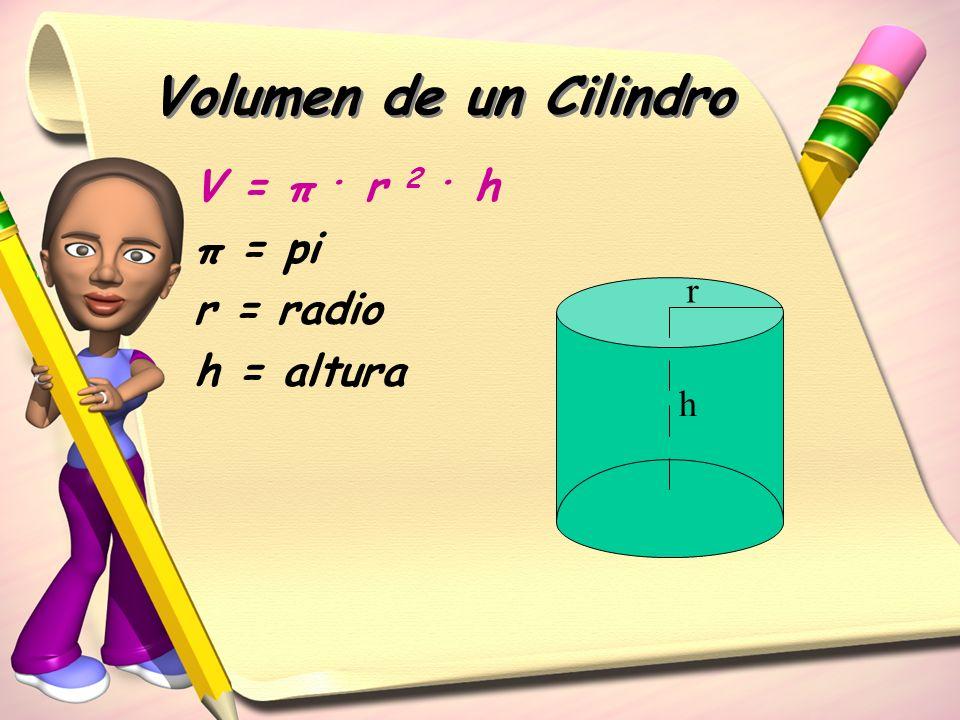 Volumen de un Cilindro V = π . r 2 . h π = pi r = radio h = altura r h