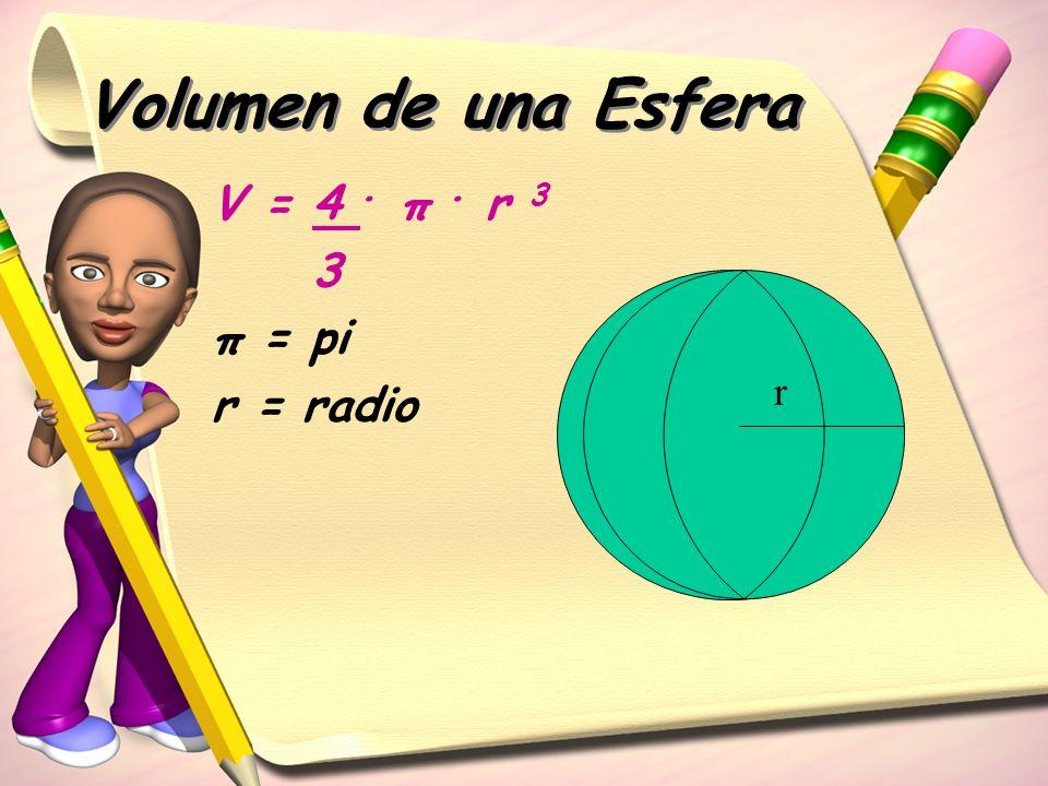 Volumen de una Esfera V = 4 . π . r 3 3 π = pi r = radio r