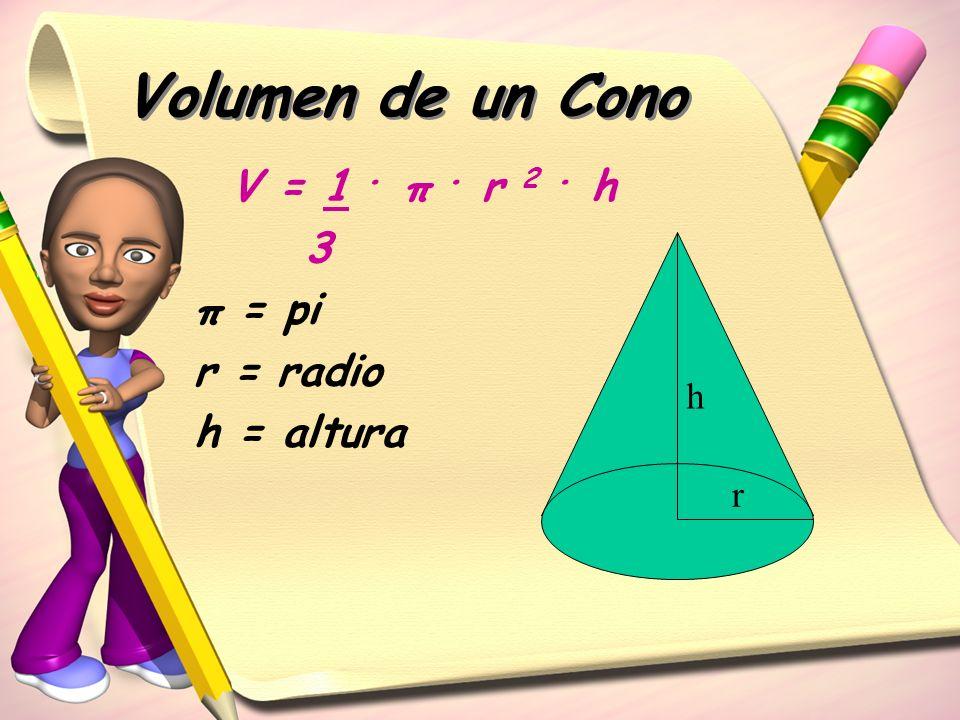 Volumen de un Cono V = 1 . π . r 2 . h 3 π = pi r = radio h = altura h