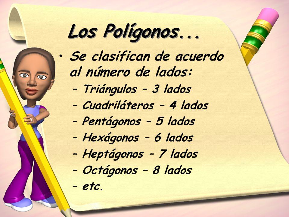 Los Polígonos... Se clasifican de acuerdo al número de lados: