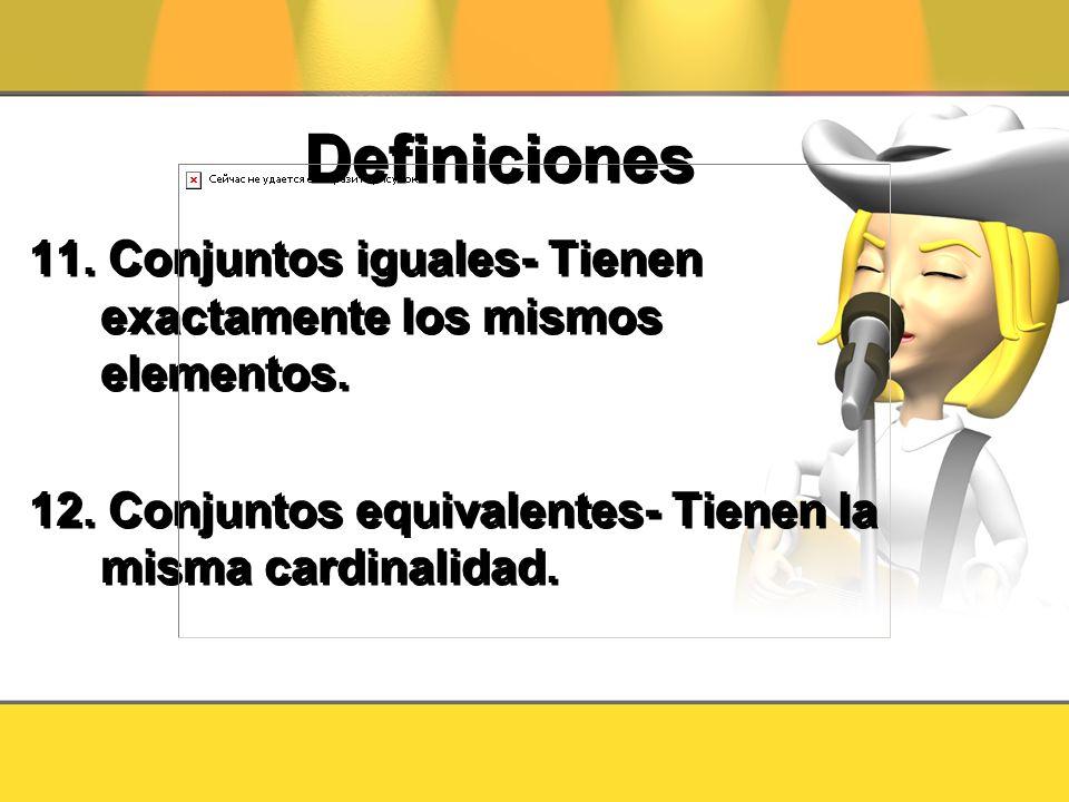 Definiciones 11. Conjuntos iguales- Tienen exactamente los mismos elementos.