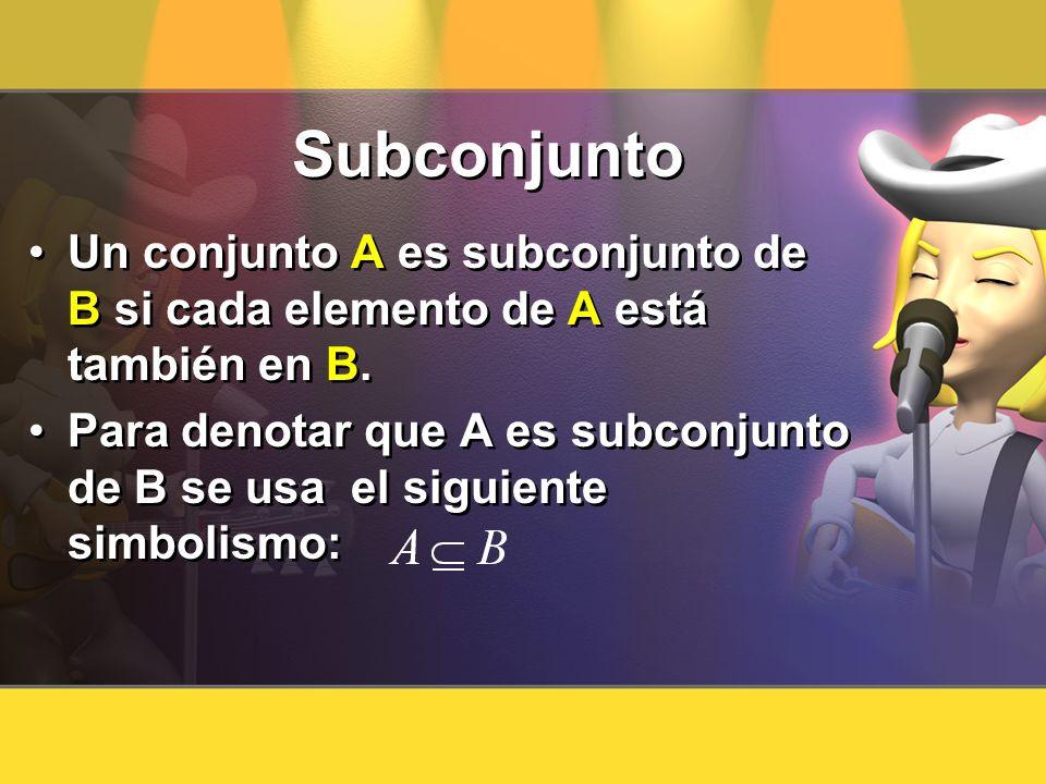Subconjunto Un conjunto A es subconjunto de B si cada elemento de A está también en B.