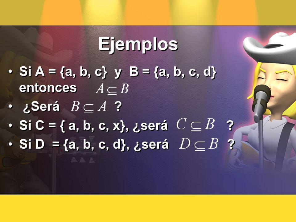 Ejemplos Si A = {a, b, c} y B = {a, b, c, d} entonces ¿Será