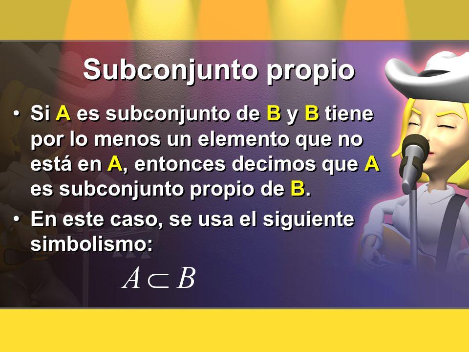 Subconjunto propioSi A es subconjunto de B y B tiene por lo menos un elemento que no está en A, entonces decimos que A es subconjunto propio de B.