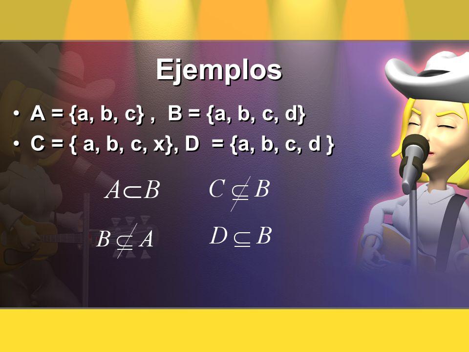 Ejemplos A = {a, b, c} , B = {a, b, c, d}