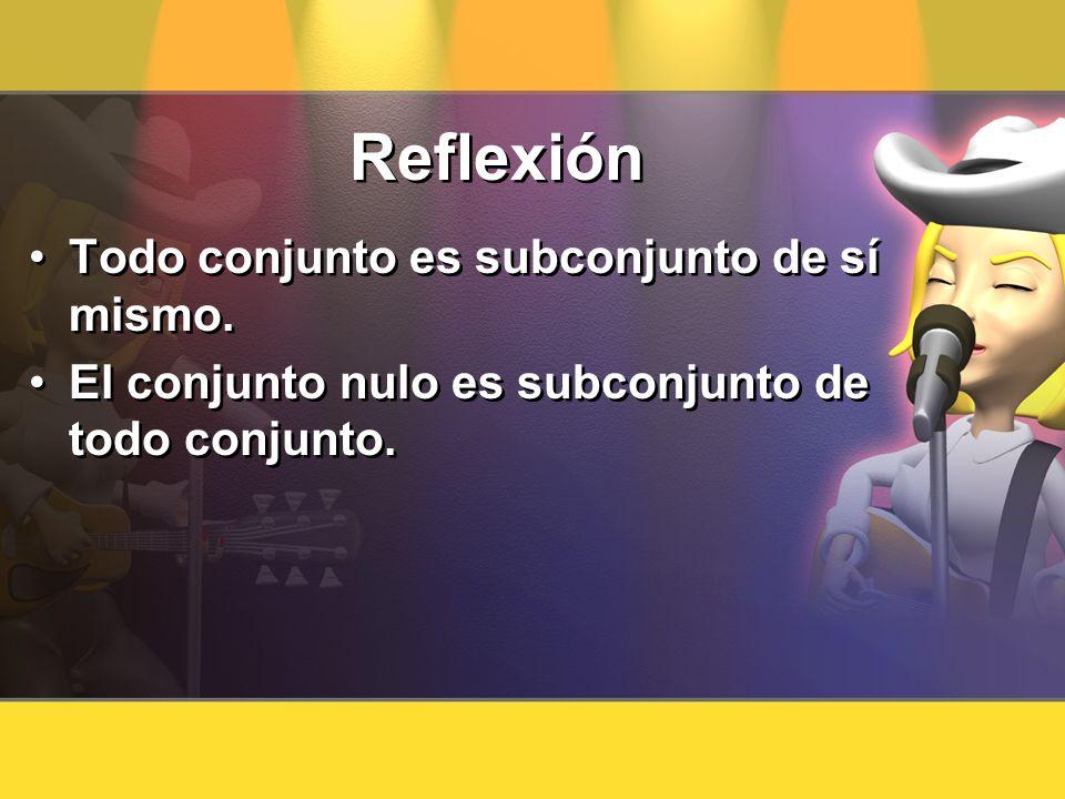 Reflexión Todo conjunto es subconjunto de sí mismo.