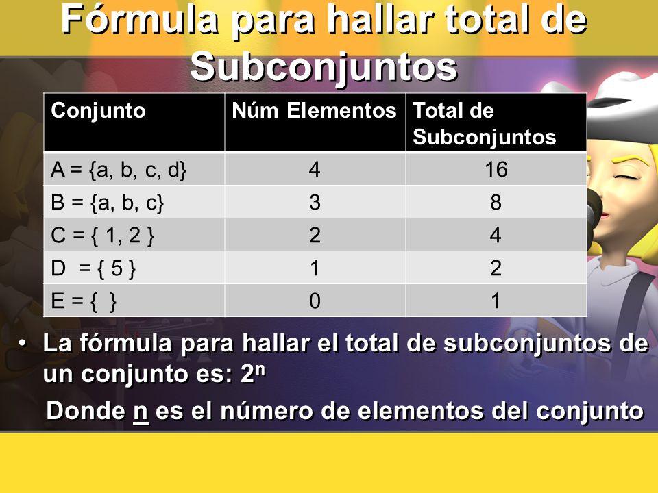Fórmula para hallar total de Subconjuntos