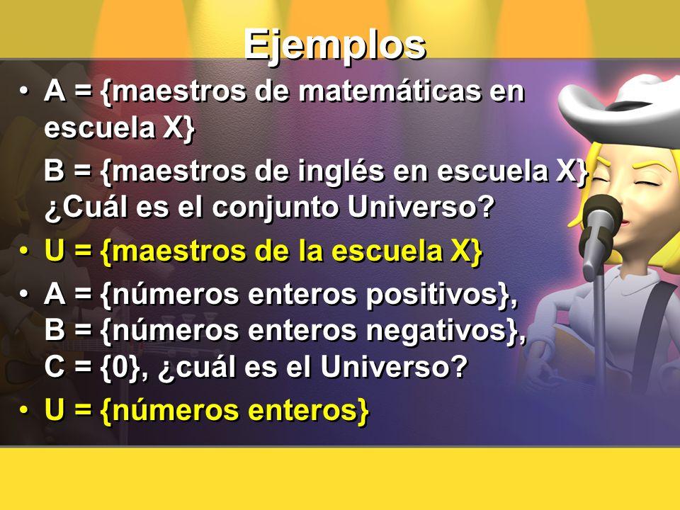 Ejemplos A = {maestros de matemáticas en escuela X}