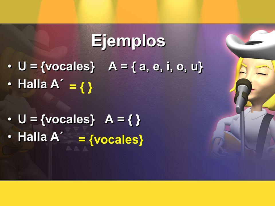 Ejemplos U = {vocales} A = { a, e, i, o, u} Halla A´ = { }
