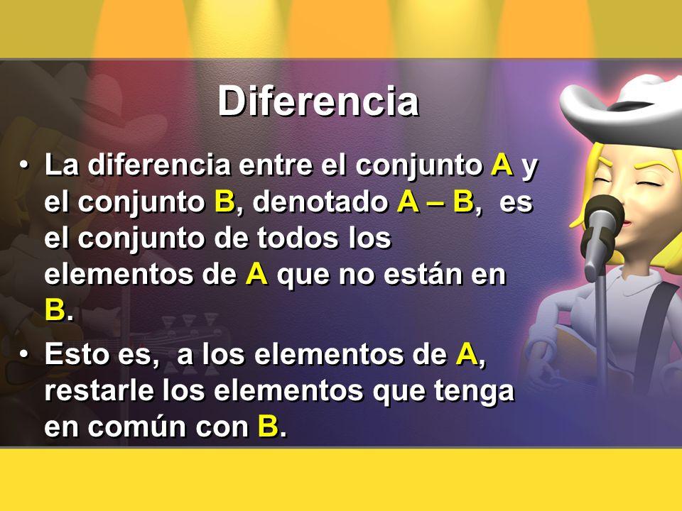 DiferenciaLa diferencia entre el conjunto A y el conjunto B, denotado A – B, es el conjunto de todos los elementos de A que no están en B.