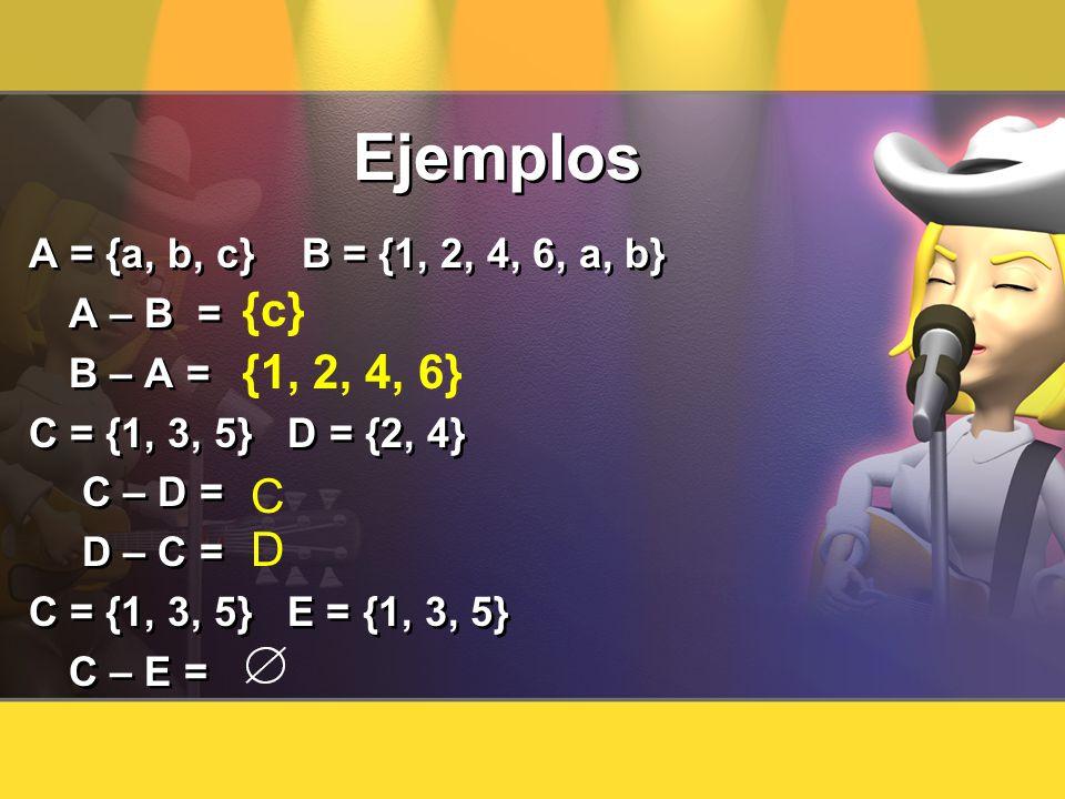 Ejemplos {c} {1, 2, 4, 6} C D A = {a, b, c} B = {1, 2, 4, 6, a, b}