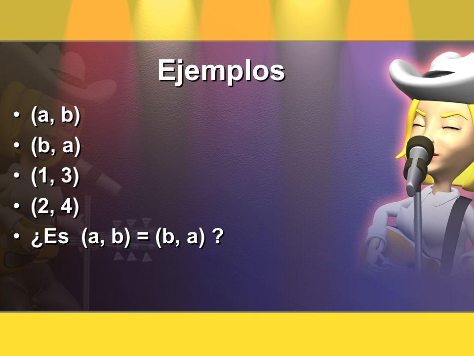 Ejemplos (a, b) (b, a) (1, 3) (2, 4) ¿Es (a, b) = (b, a)