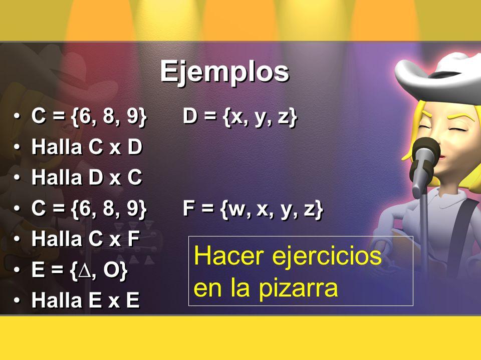 Ejemplos Hacer ejercicios en la pizarra C = {6, 8, 9} D = {x, y, z}