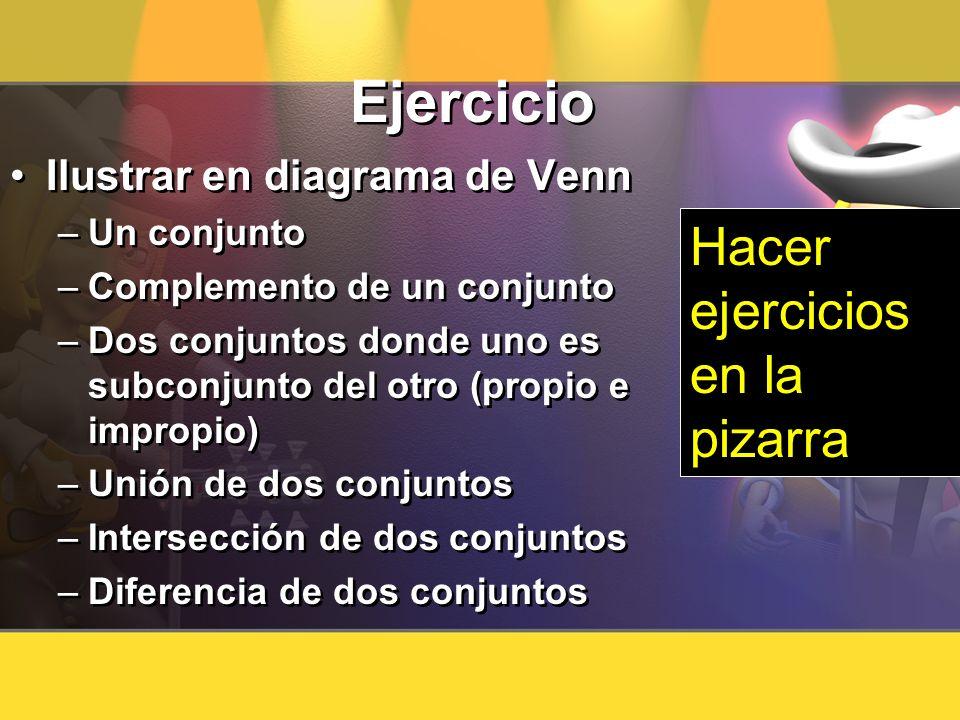 Ejercicio Hacer ejercicios en la pizarra Ilustrar en diagrama de Venn