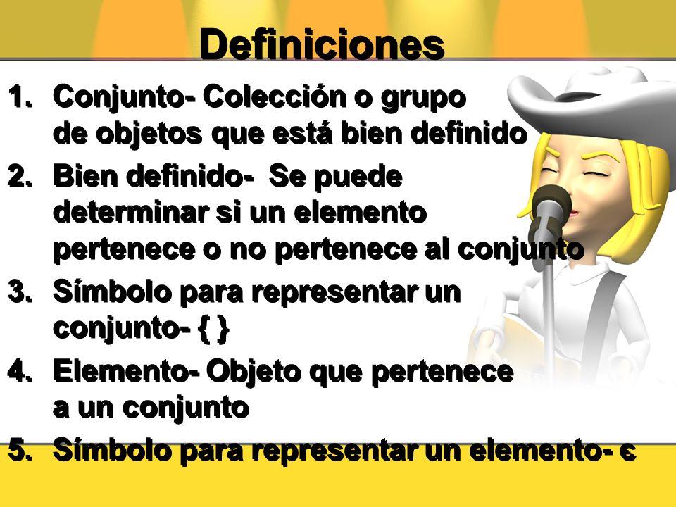 Definiciones Conjunto- Colección o grupo de objetos que está bien definido.