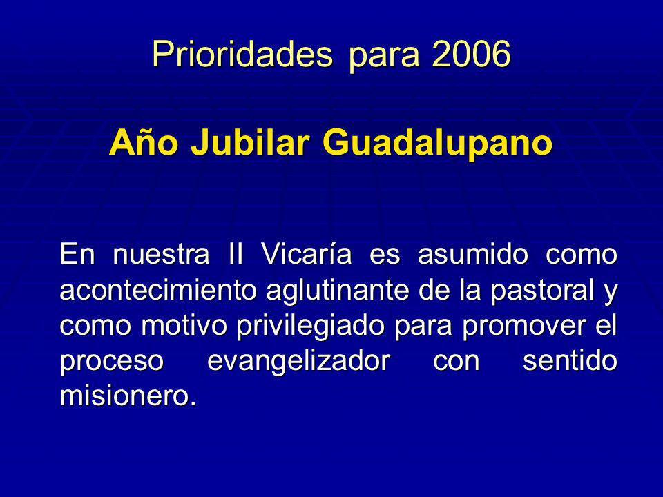 Prioridades para 2006 Año Jubilar Guadalupano