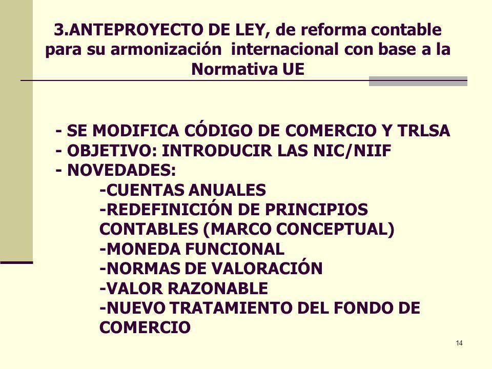 3.ANTEPROYECTO DE LEY, de reforma contable para su armonización internacional con base a la Normativa UE