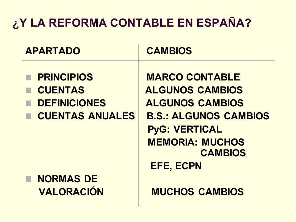 ¿Y LA REFORMA CONTABLE EN ESPAÑA