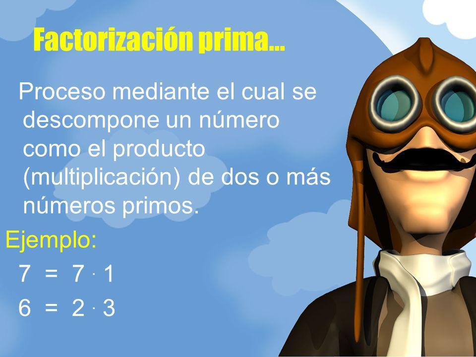 Factorización prima... Proceso mediante el cual se descompone un número como el producto (multiplicación) de dos o más números primos.