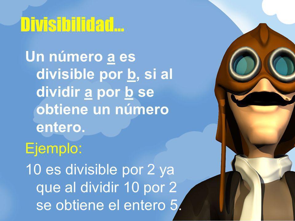 Divisibilidad... Un número a es divisible por b, si al dividir a por b se obtiene un número entero.