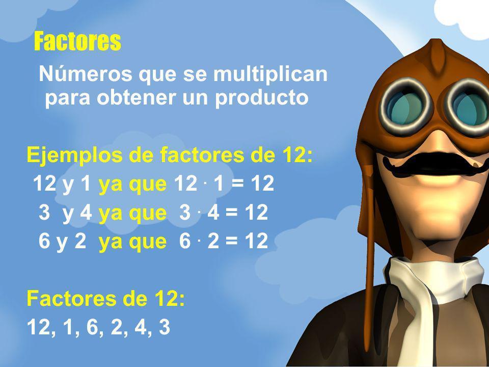 Factores Números que se multiplican para obtener un producto