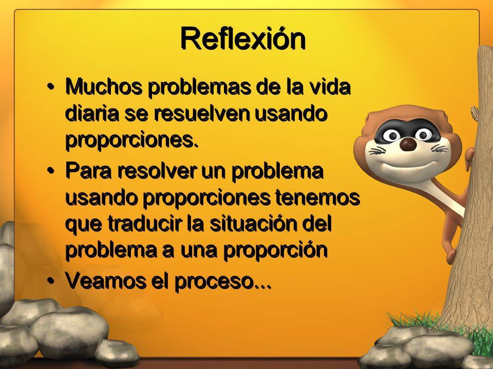 Reflexión Muchos problemas de la vida diaria se resuelven usando proporciones.