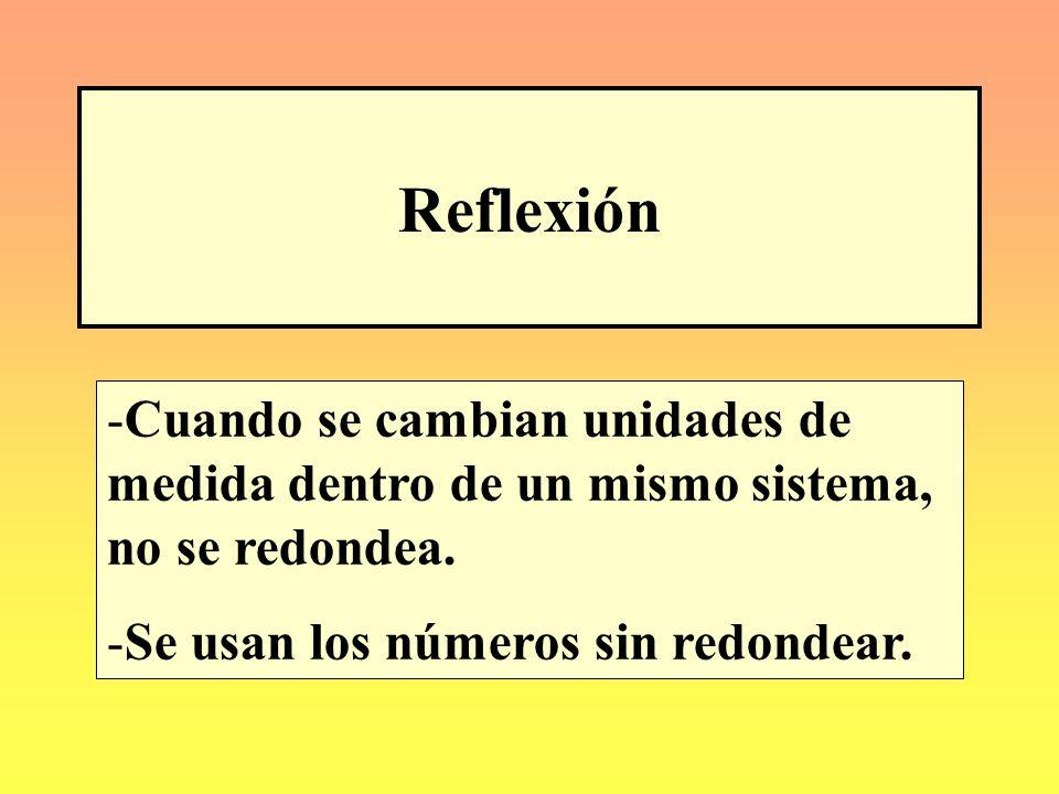 Reflexión Cuando se cambian unidades de medida dentro de un mismo sistema, no se redondea.