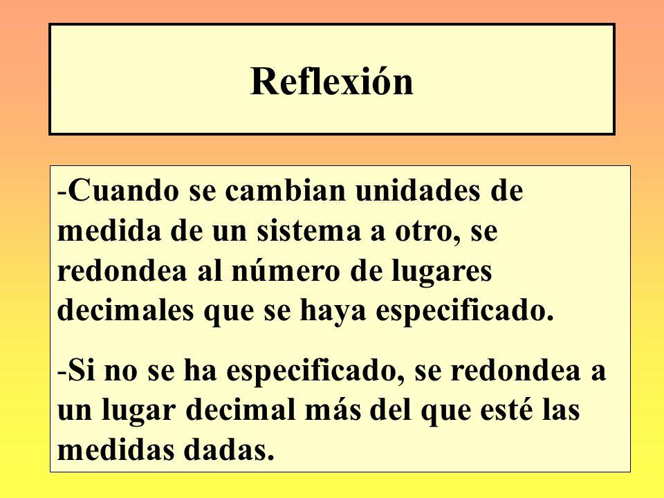 Reflexión Cuando se cambian unidades de medida de un sistema a otro, se redondea al número de lugares decimales que se haya especificado.