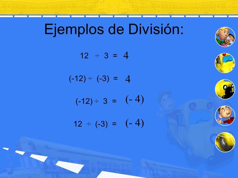 Ejemplos de División: 4 4 (- 4) (- 4) 12 ÷ 3 = (-12) ÷ (-3) =
