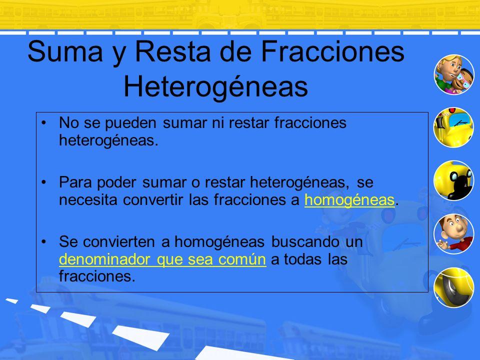 Suma y Resta de Fracciones Heterogéneas