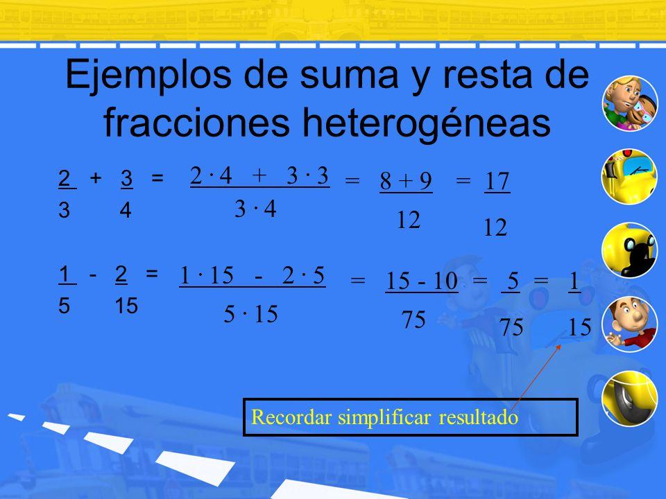 Ejemplos de suma y resta de fracciones heterogéneas