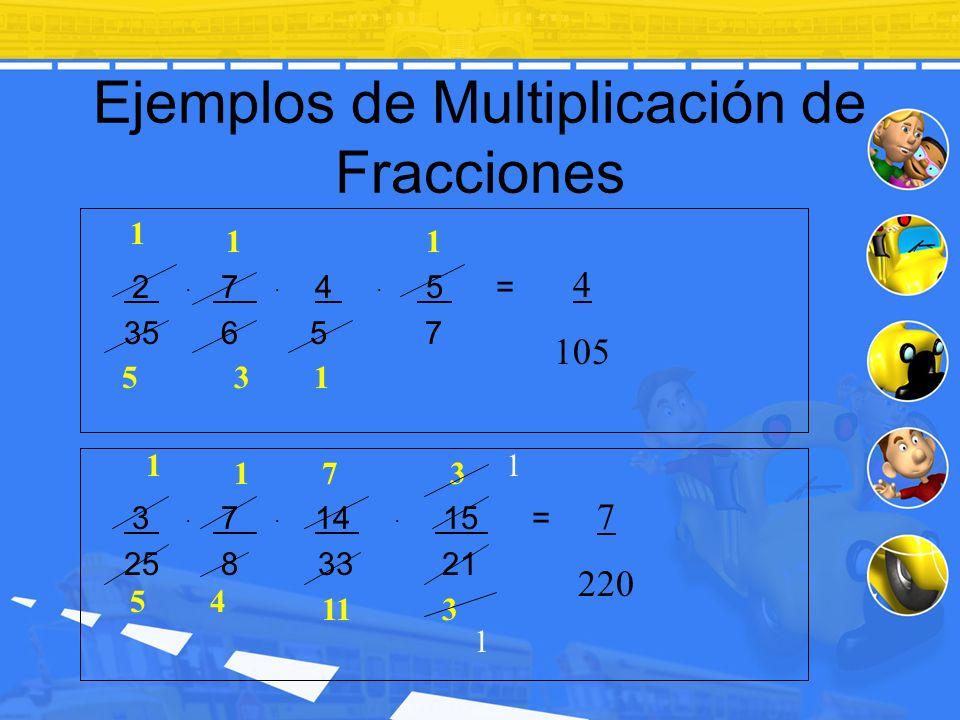 Ejemplos de Multiplicación de Fracciones