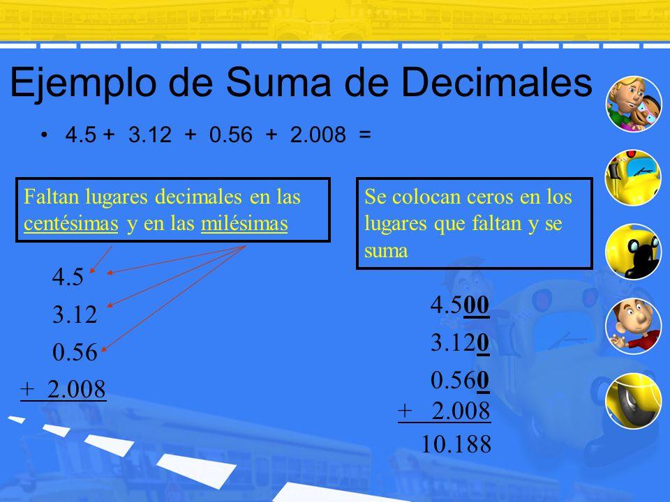 Ejemplo de Suma de Decimales