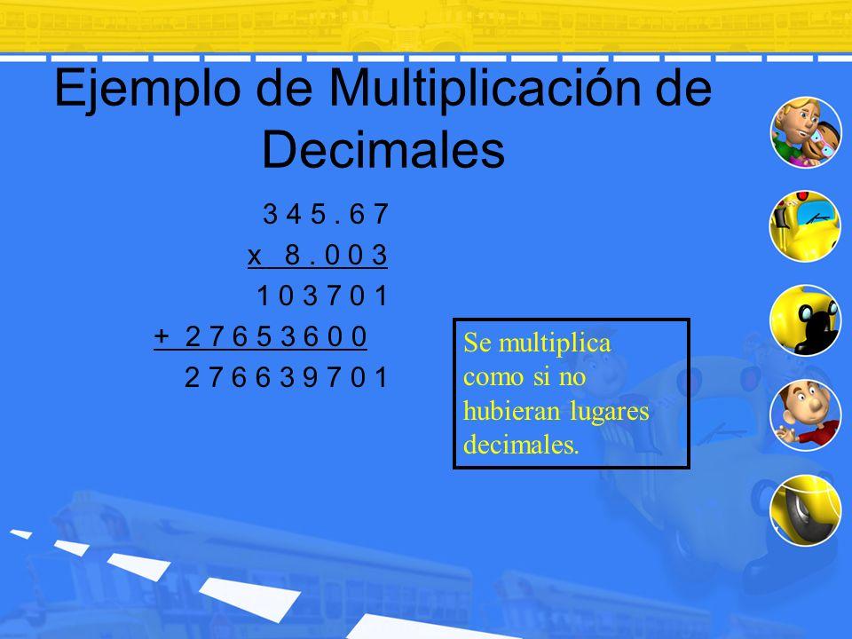Ejemplo de Multiplicación de Decimales