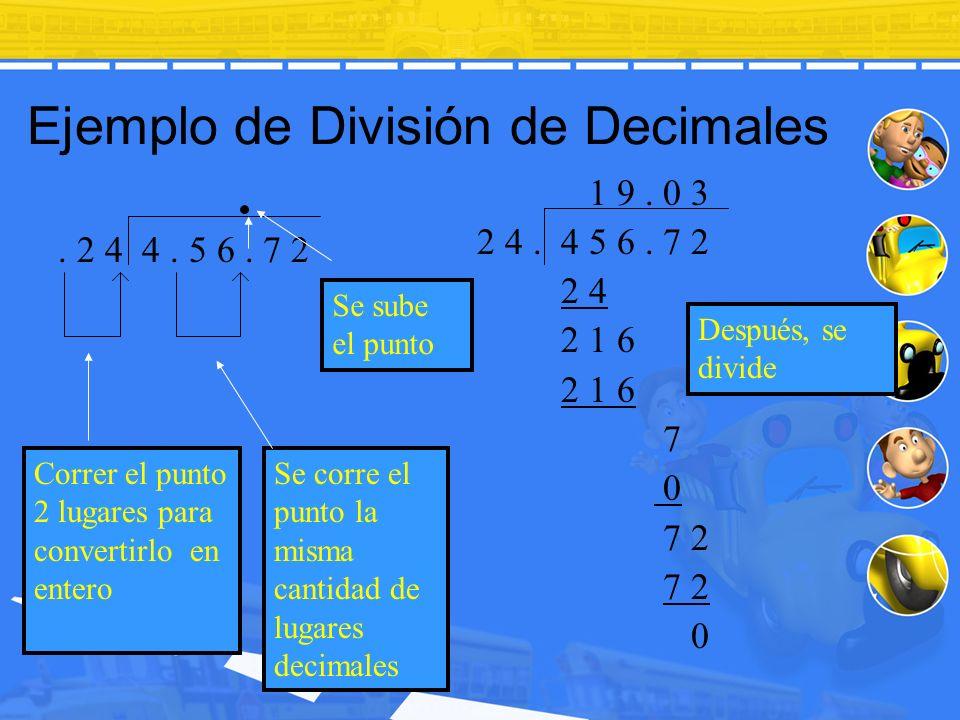 Ejemplo de División de Decimales