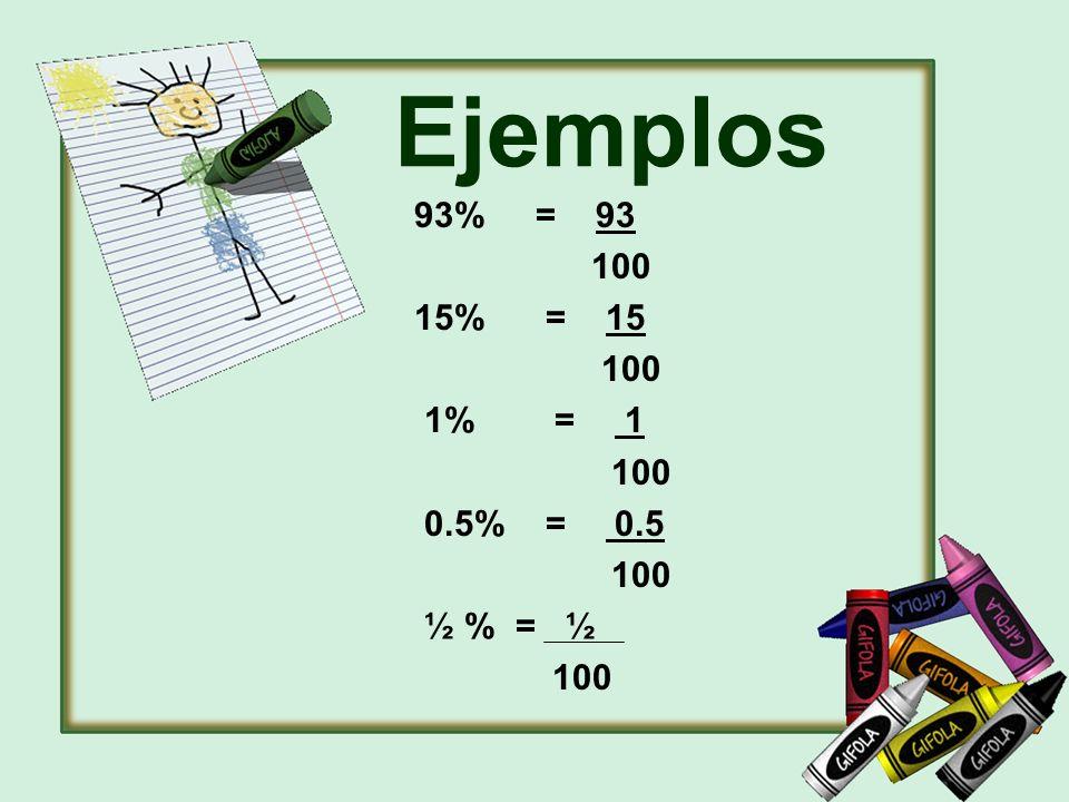 Ejemplos 93% = 93 100 15% = 15 1% = 1 0.5% = 0.5 ½ % = ½
