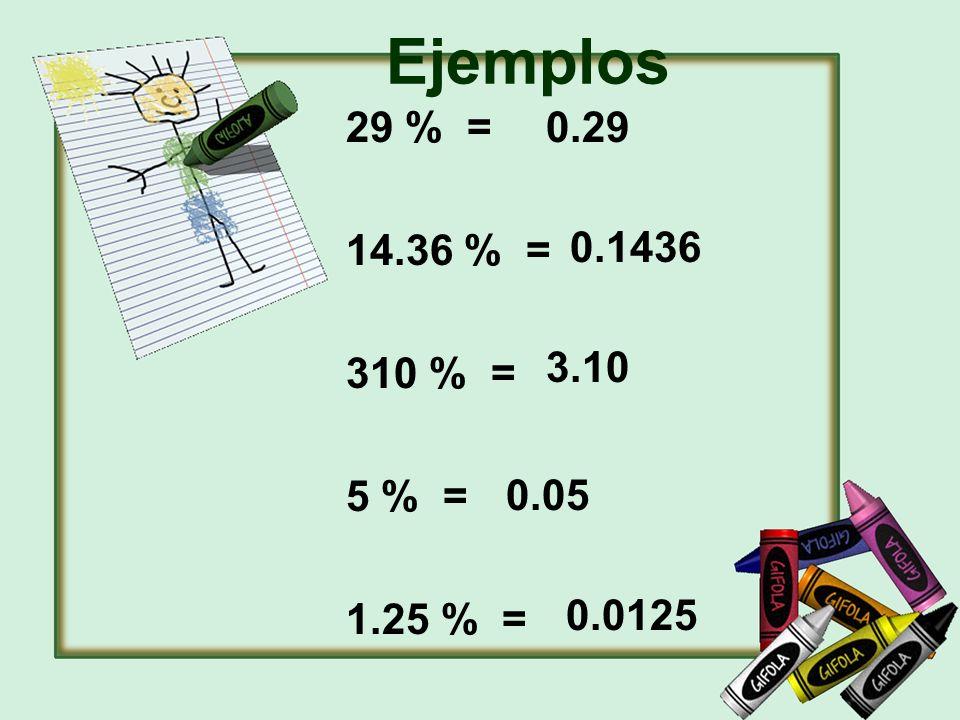 Ejemplos 29 % = 14.36 % = 310 % = 5 % = 1.25 % = 0.29 0.1436 3.10 0.05 0.0125