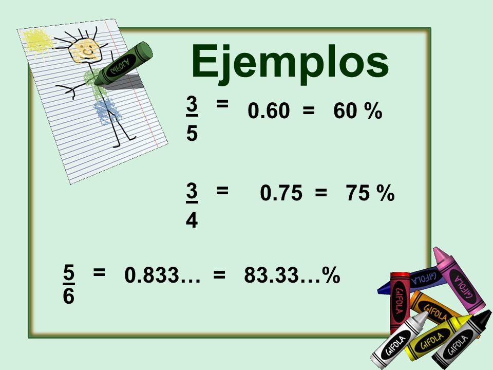 Ejemplos 3 = 5 4 0.60 = 60 % 0.75 = 75 % 5 = 6 0.833… = 83.33…%