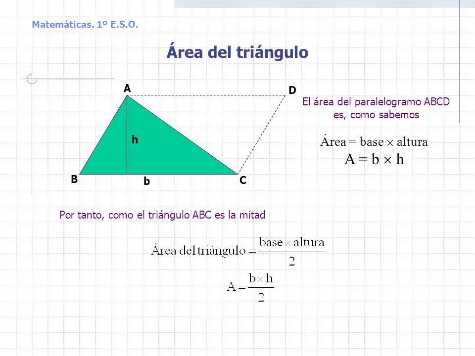 Área del triángulo A = b  h Área = base  altura A D