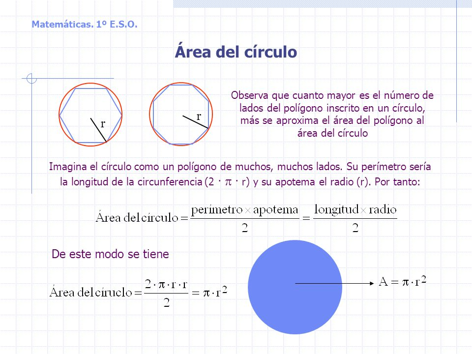 Área del círculo r De este modo se tiene
