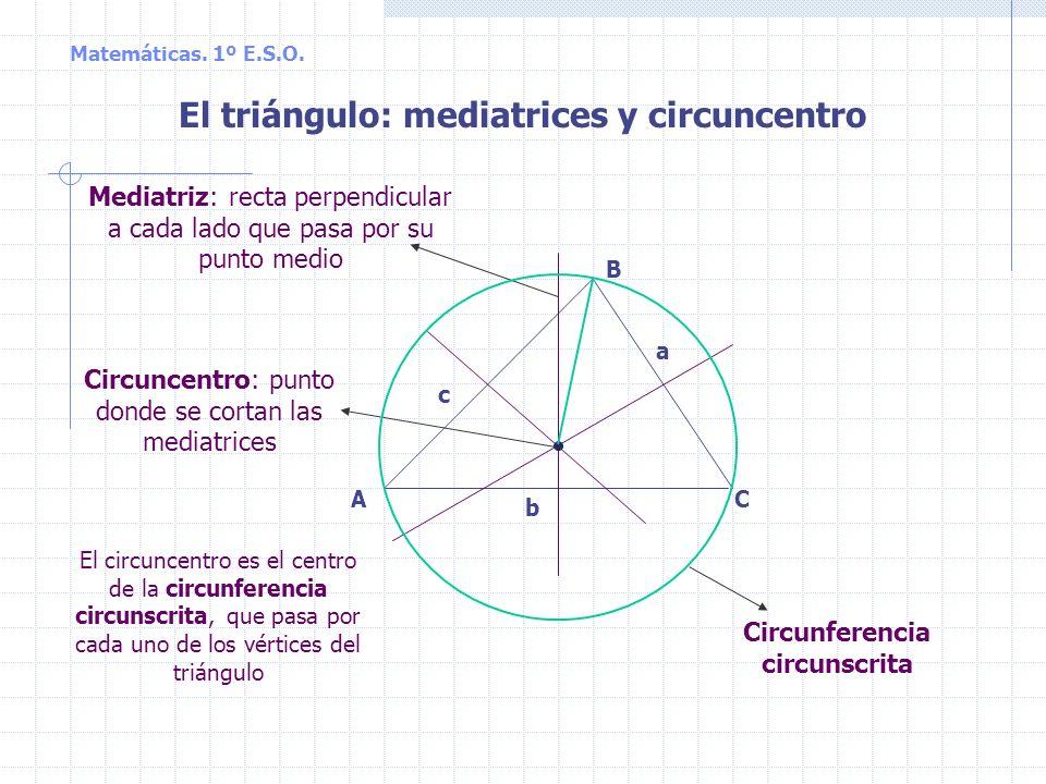 El triángulo: mediatrices y circuncentro Circunferencia circunscrita