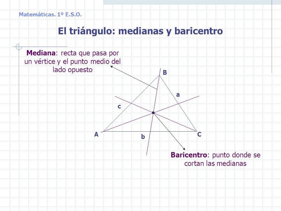 El triángulo: medianas y baricentro