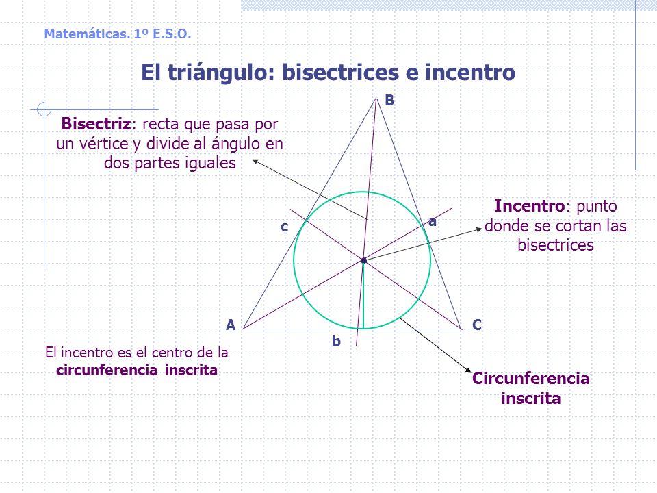 El triángulo: bisectrices e incentro Circunferencia inscrita