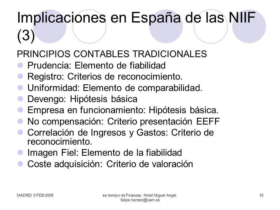 Implicaciones en España de las NIIF (3)