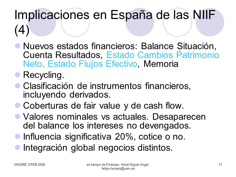 Implicaciones en España de las NIIF (4)